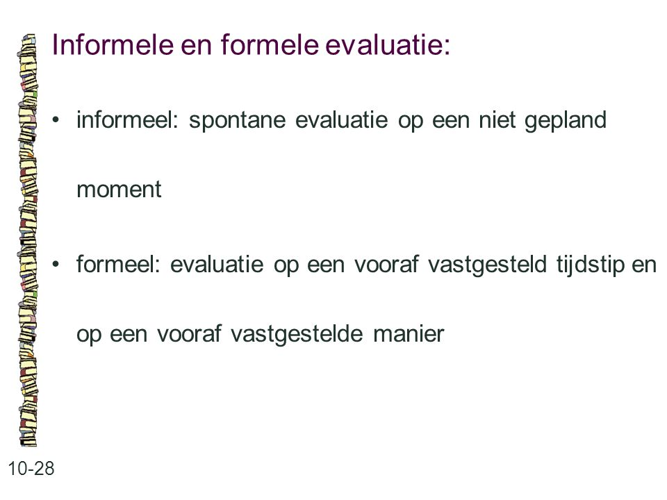 Informele en formele evaluatie: