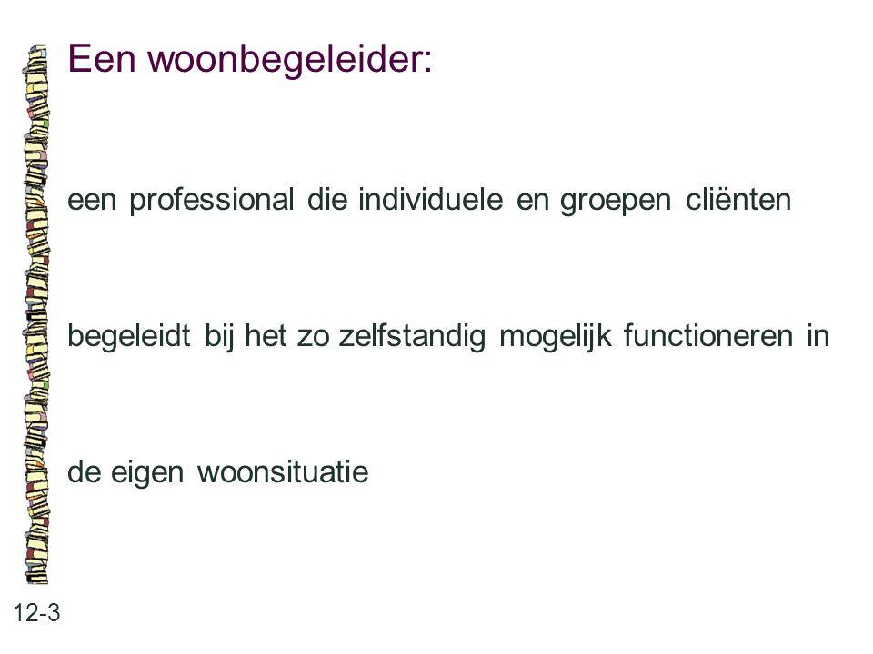 Een woonbegeleider: een professional die individuele en groepen cliënten. begeleidt bij het zo zelfstandig mogelijk functioneren in.