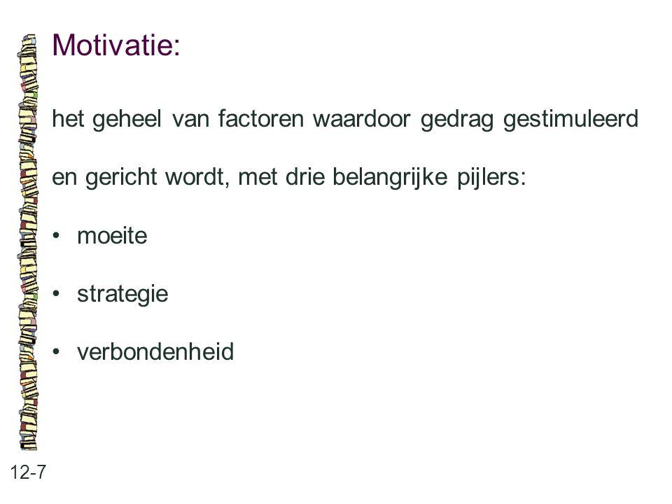 Motivatie: het geheel van factoren waardoor gedrag gestimuleerd