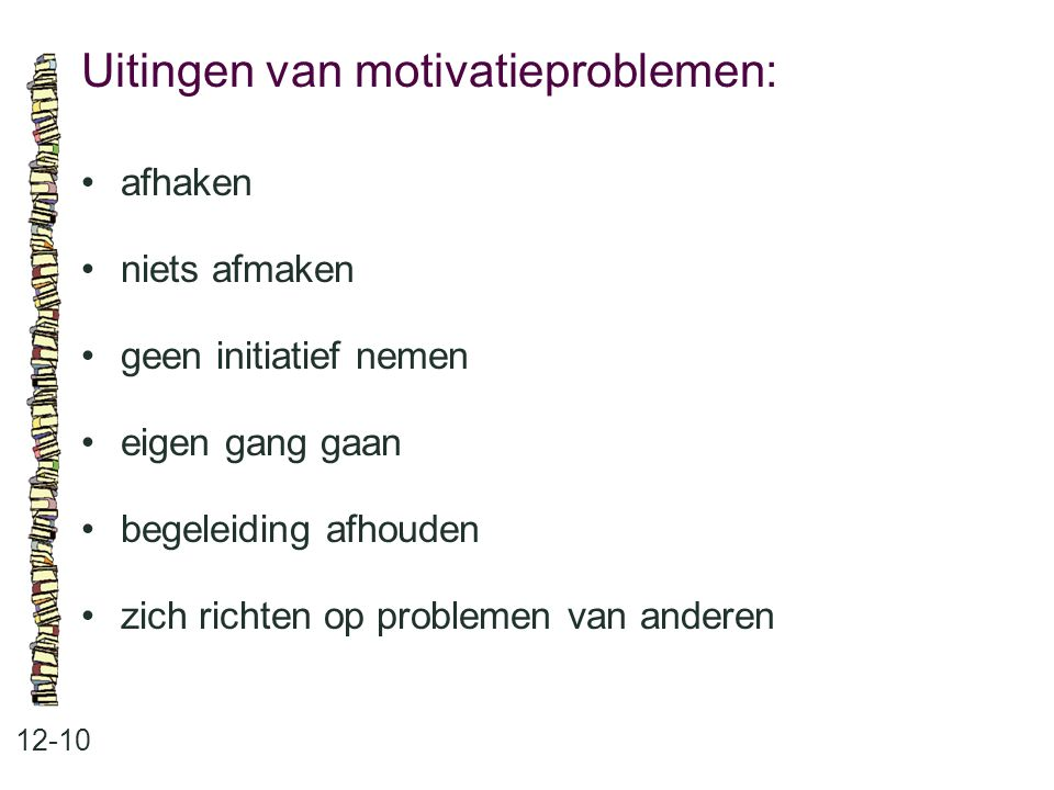 Uitingen van motivatieproblemen: