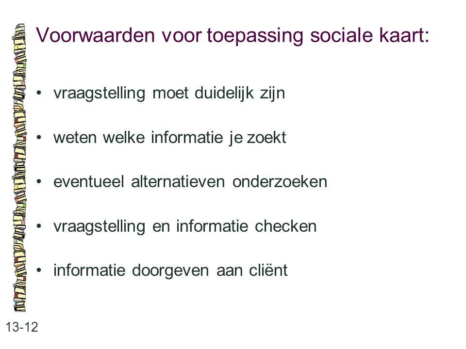 Voorwaarden voor toepassing sociale kaart: