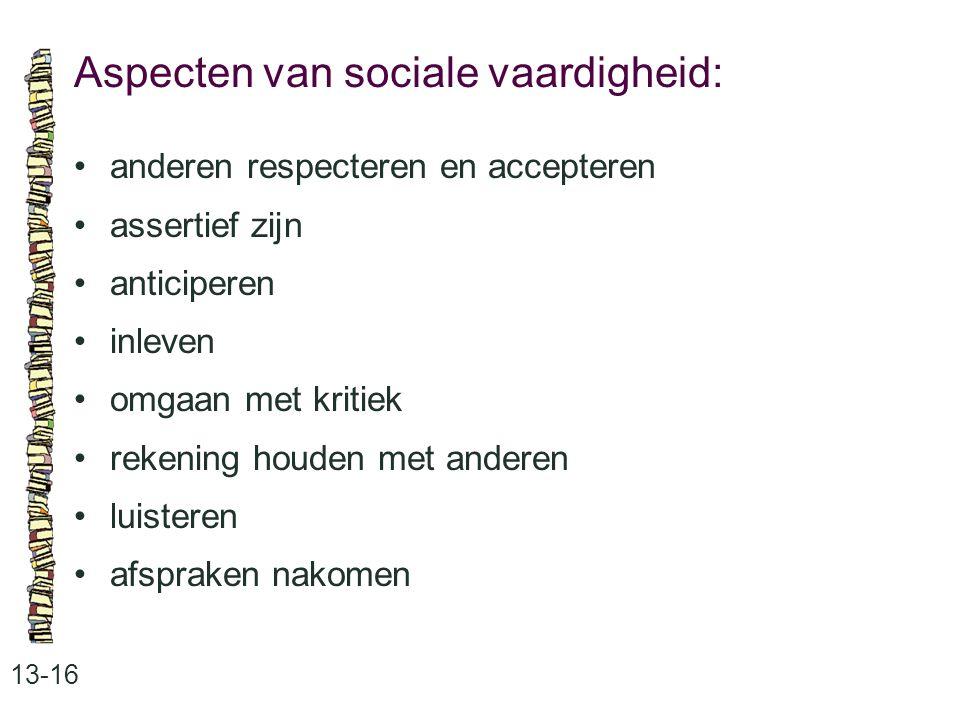 Aspecten van sociale vaardigheid: