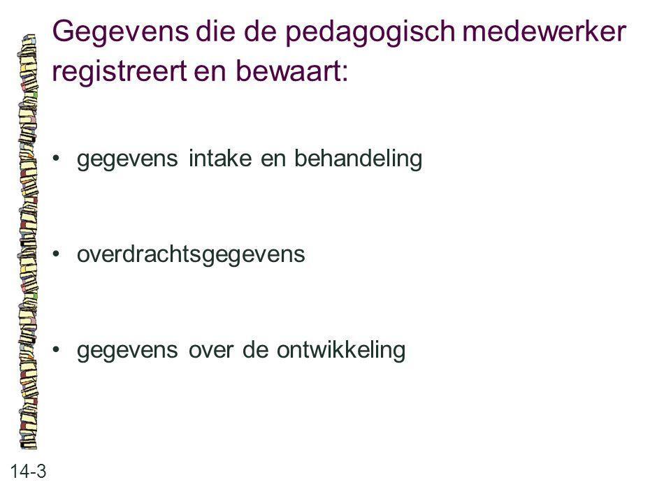Gegevens die de pedagogisch medewerker registreert en bewaart: