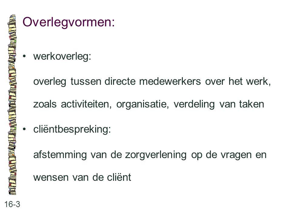 Overlegvormen: • werkoverleg: