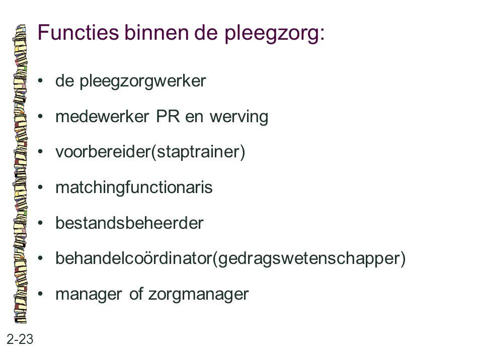 Functies binnen de pleegzorg: