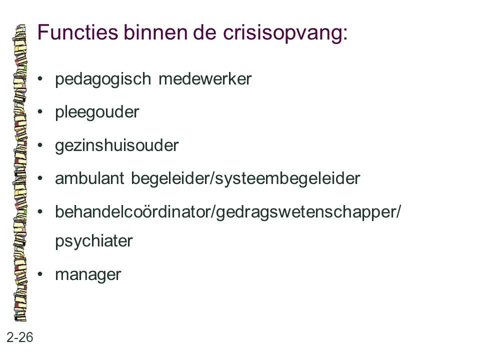 Functies binnen de crisisopvang: