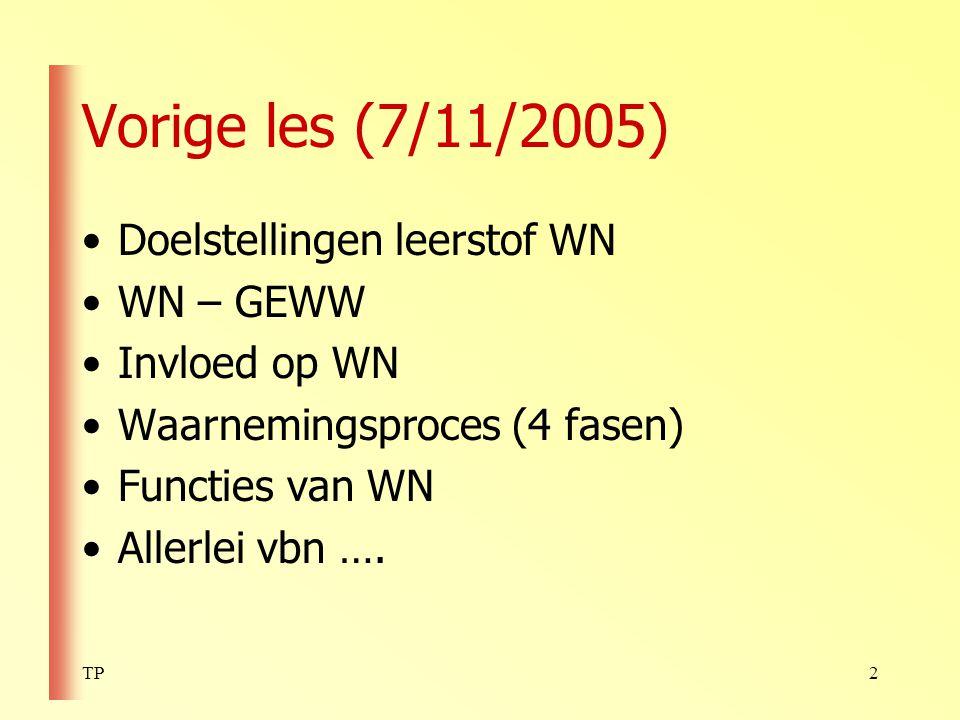 Vorige les (7/11/2005) Doelstellingen leerstof WN WN – GEWW