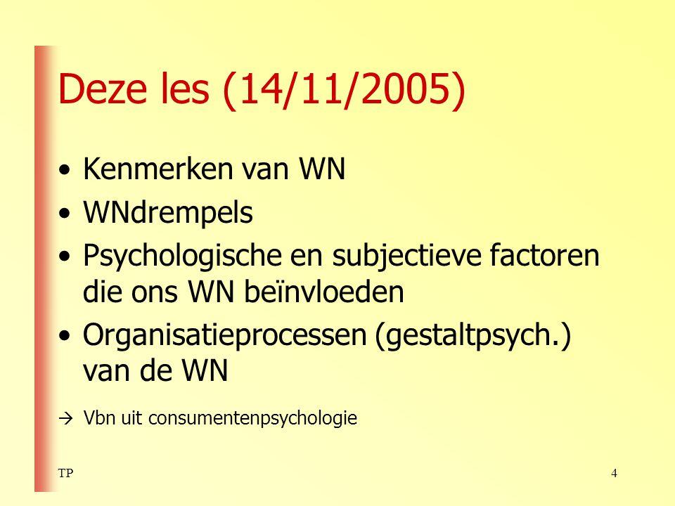 Deze les (14/11/2005) Kenmerken van WN WNdrempels