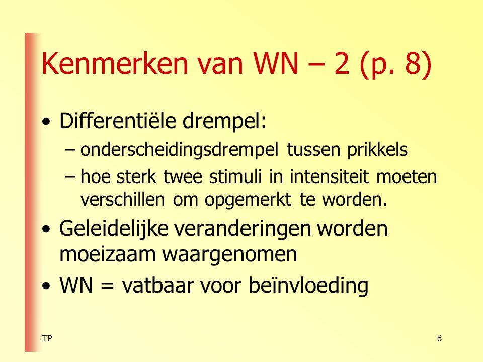 Kenmerken van WN – 2 (p. 8) Differentiële drempel: