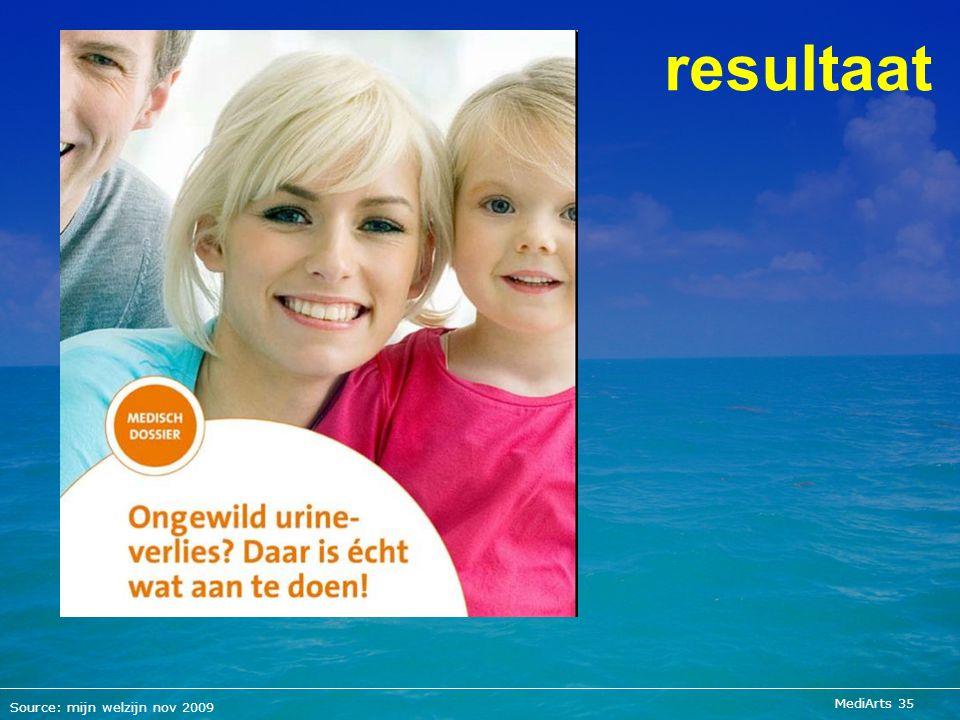 resultaat Source: mijn welzijn nov 2009 MediArts 35