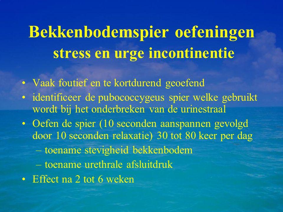 Bekkenbodemspier oefeningen stress en urge incontinentie