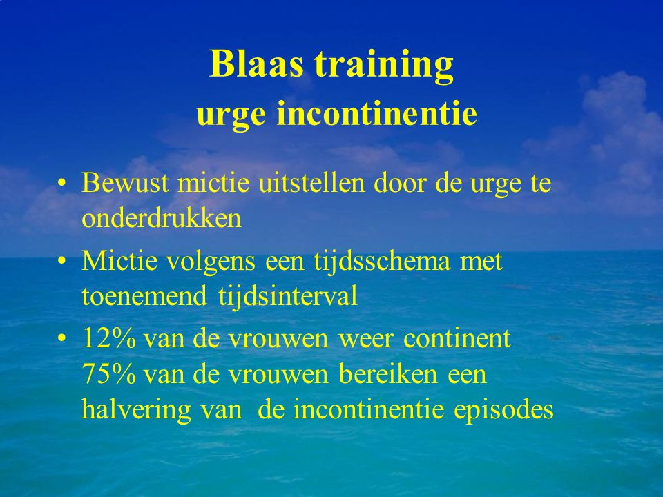 Blaas training urge incontinentie