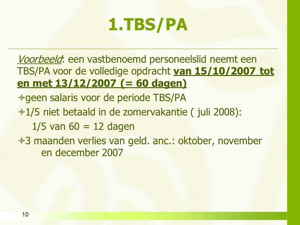 1.TBS/PA Voorbeeld: een vastbenoemd personeelslid neemt een TBS/PA voor de volledige opdracht van 15/10/2007 tot en met 13/12/2007 (= 60 dagen)