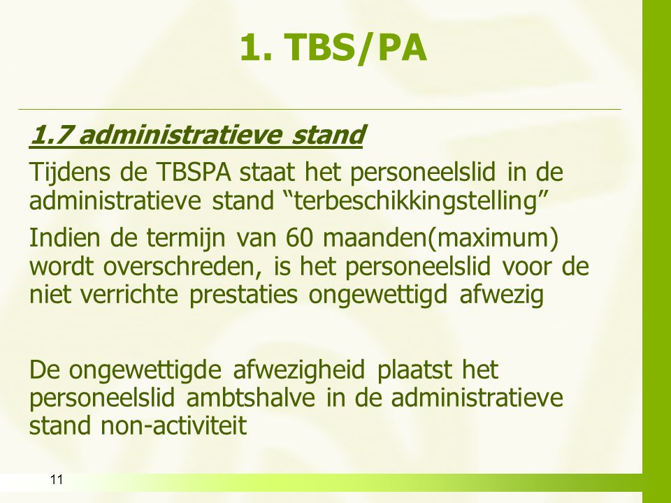 1. TBS/PA 1.7 administratieve stand