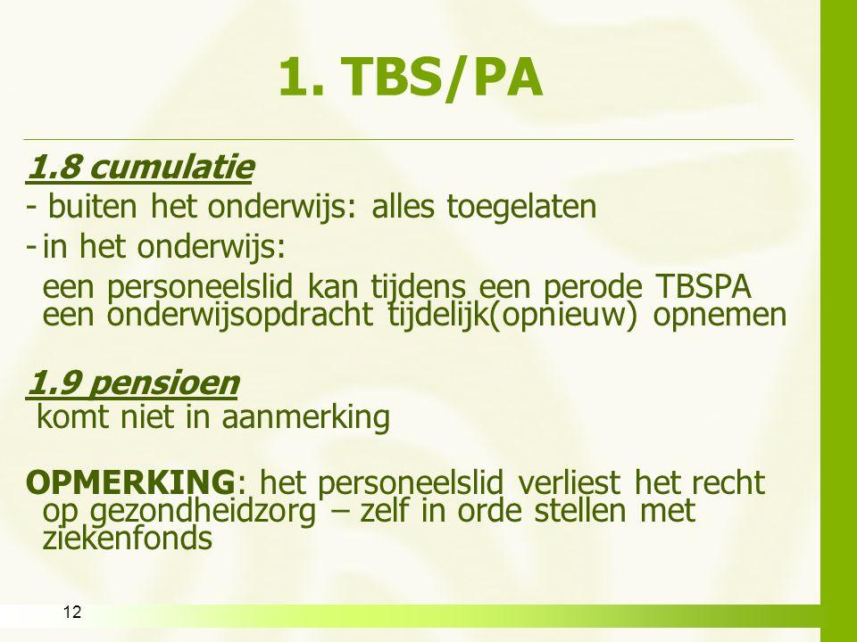 1. TBS/PA 1.8 cumulatie - buiten het onderwijs: alles toegelaten