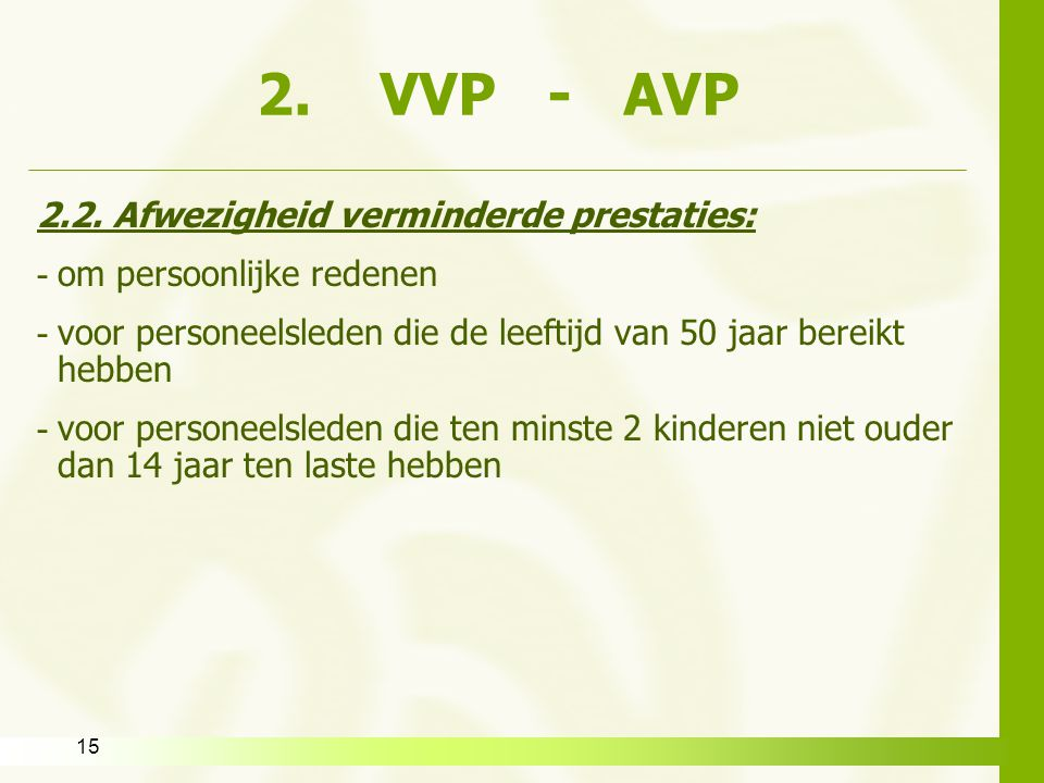 2. VVP - AVP 2.2. Afwezigheid verminderde prestaties: