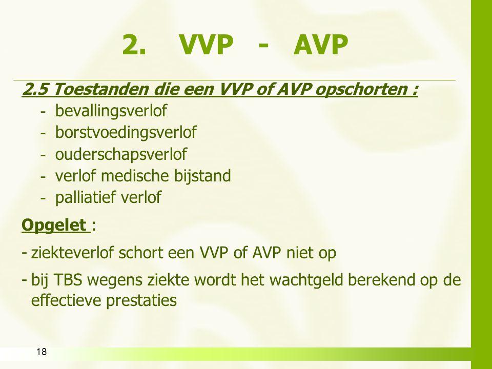 2. VVP - AVP 2.5 Toestanden die een VVP of AVP opschorten :
