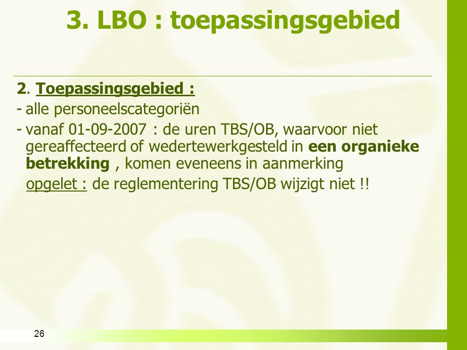 3. LBO : toepassingsgebied
