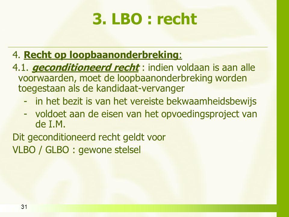 3. LBO : recht 4. Recht op loopbaanonderbreking: