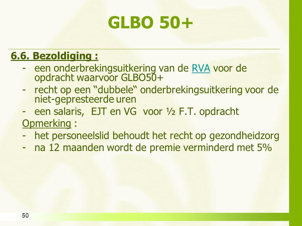 GLBO 50+ 6.6. Bezoldiging : een onderbrekingsuitkering van de RVA voor de opdracht waarvoor GLBO50+