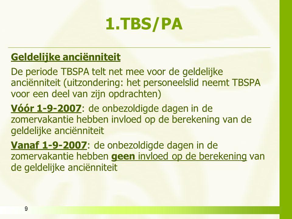 1.TBS/PA Geldelijke anciënniteit