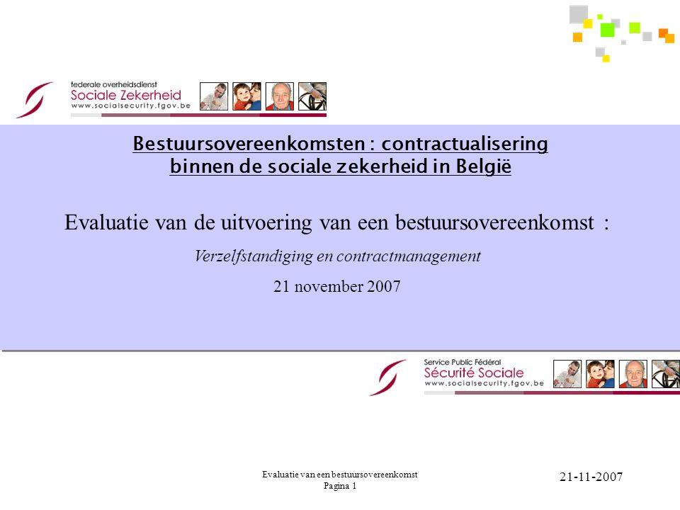 Evaluatie van de uitvoering van een bestuursovereenkomst :