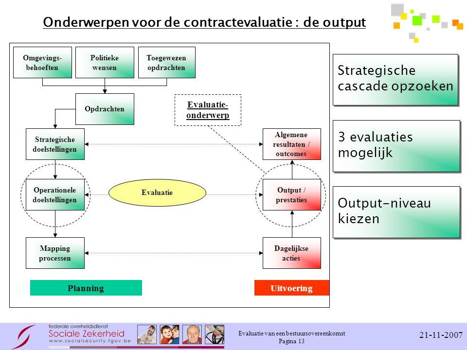 Onderwerpen voor de contractevaluatie : de output