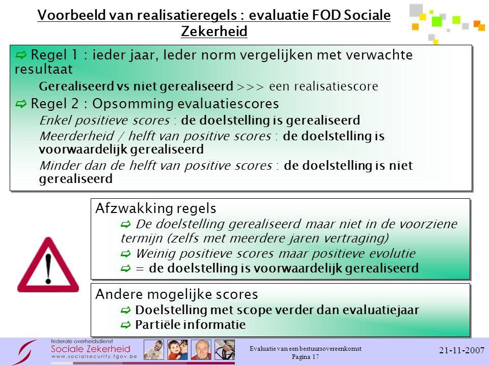 Voorbeeld van realisatieregels : evaluatie FOD Sociale Zekerheid