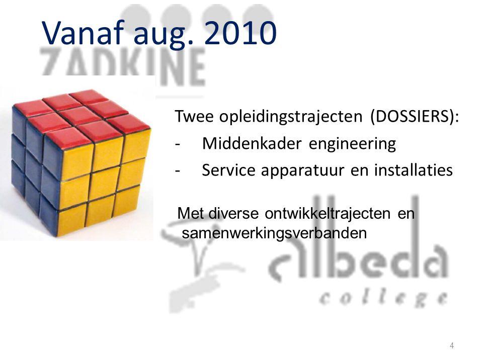 Vanaf aug. 2010 Twee opleidingstrajecten (DOSSIERS):