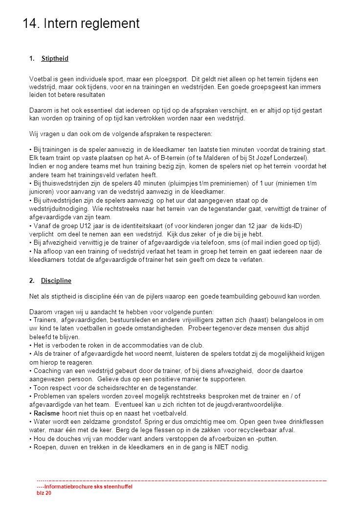 14. Intern reglement Stiptheid