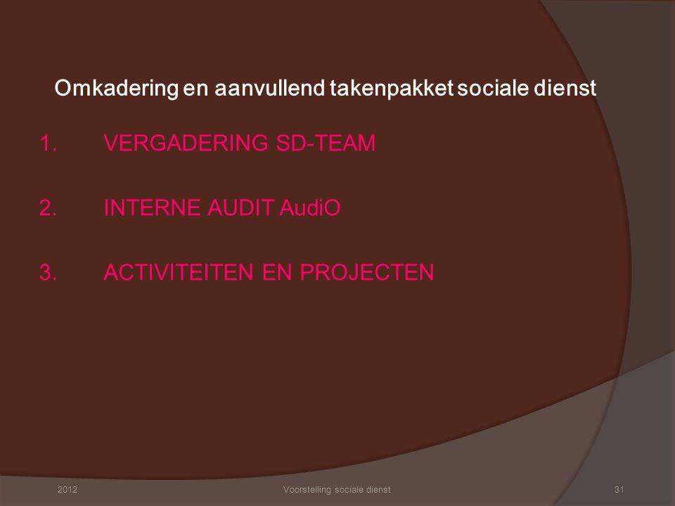 Omkadering en aanvullend takenpakket sociale dienst