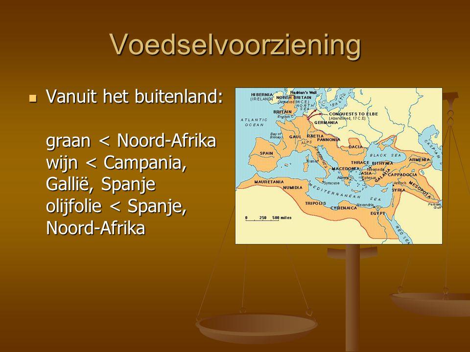 Voedselvoorziening Vanuit het buitenland: graan < Noord-Afrika wijn < Campania, Gallië, Spanje olijfolie < Spanje, Noord-Afrika.