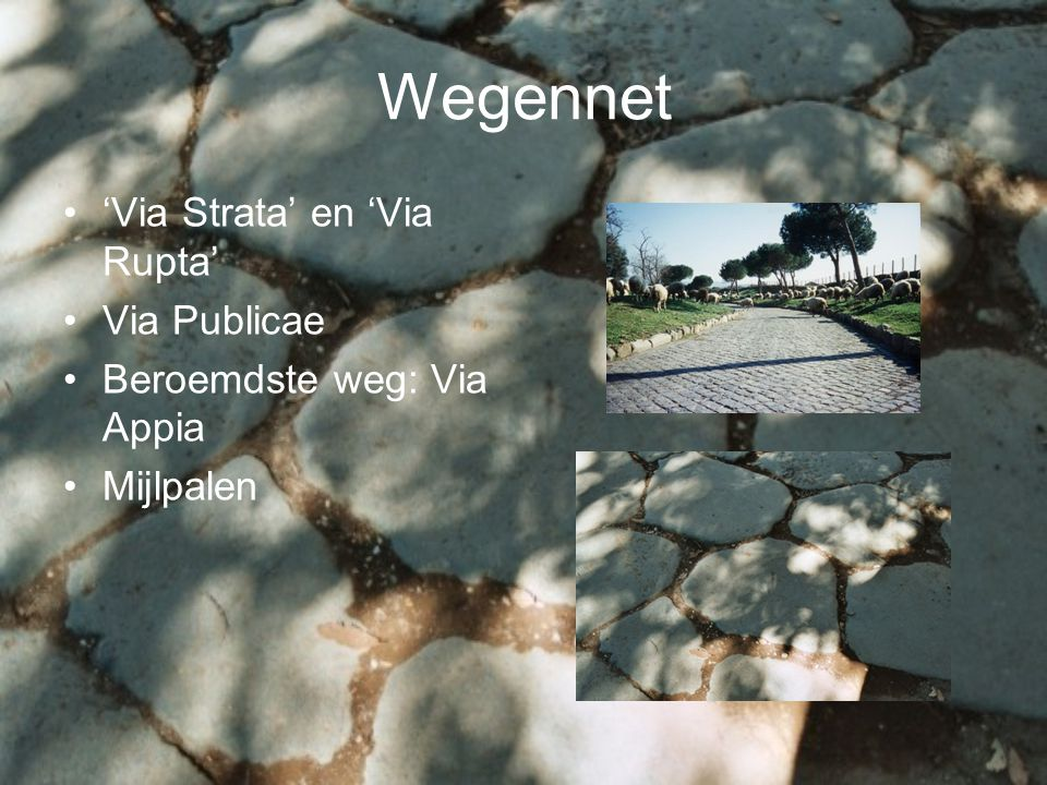 Wegennet 'Via Strata' en 'Via Rupta' Via Publicae