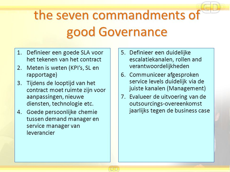 the seven commandments of good Governance