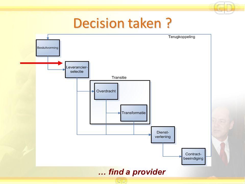 Decision taken … find a provider