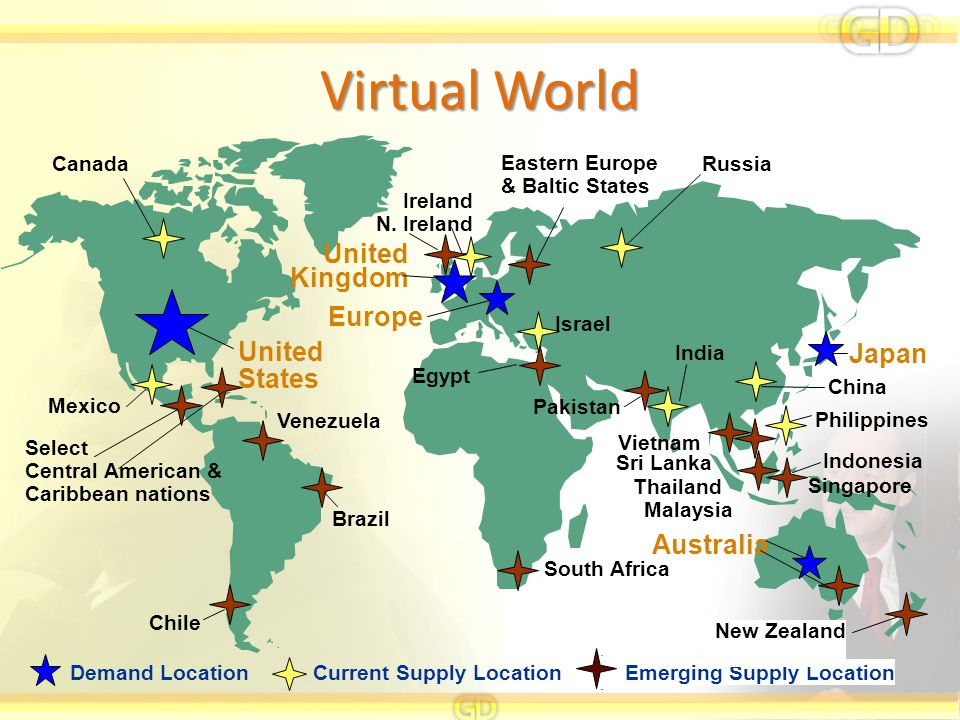 Virtual World Japan United Kingdom Australia United States Europe