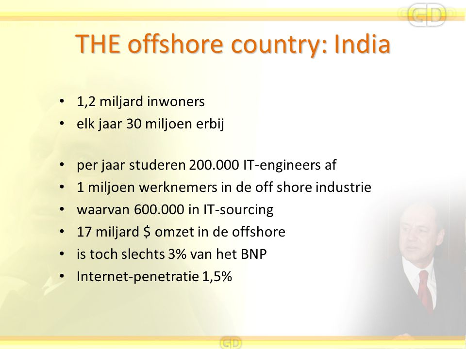 THE offshore country: India