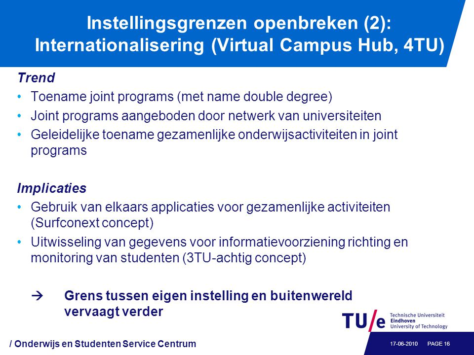 Voorbeeld joint program: Select MSc