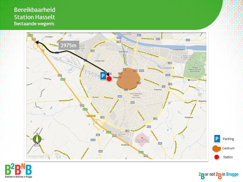 Bereikbaarheid Station Hasselt 2975m P P Bestaande wegenis N Parking