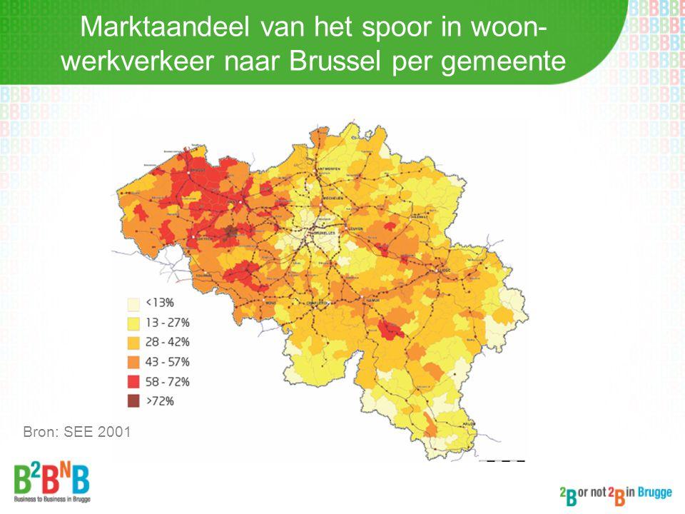 Marktaandeel van het spoor in woon-werkverkeer naar Brussel per gemeente