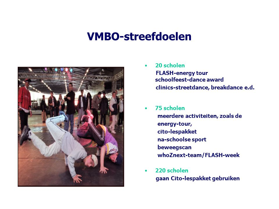 VMBO-streefdoelen 20 scholen FLASH-energy tour schoolfeest-dance award