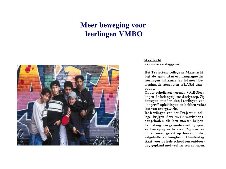 Meer beweging voor leerlingen VMBO