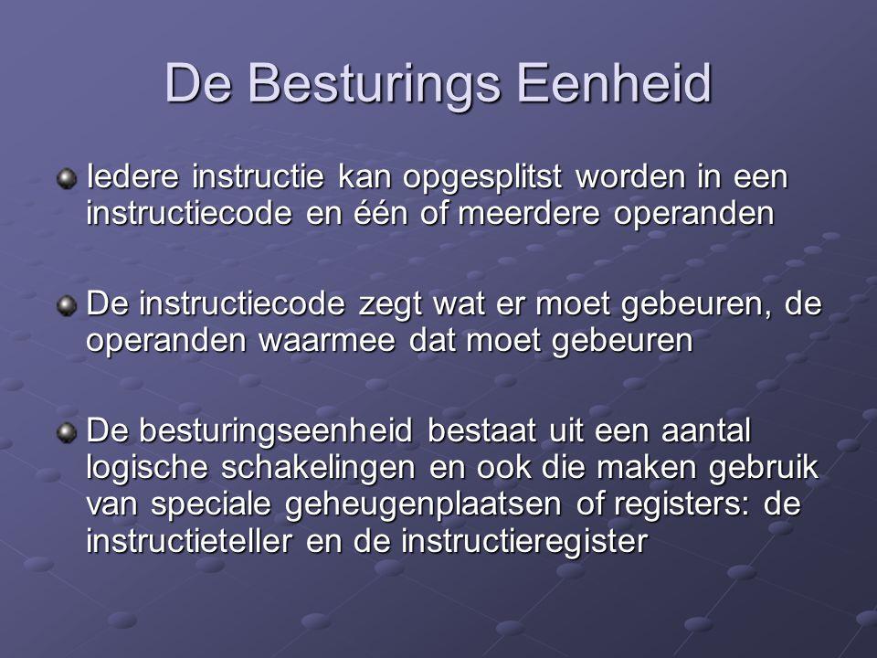 De Besturings Eenheid Iedere instructie kan opgesplitst worden in een instructiecode en één of meerdere operanden.