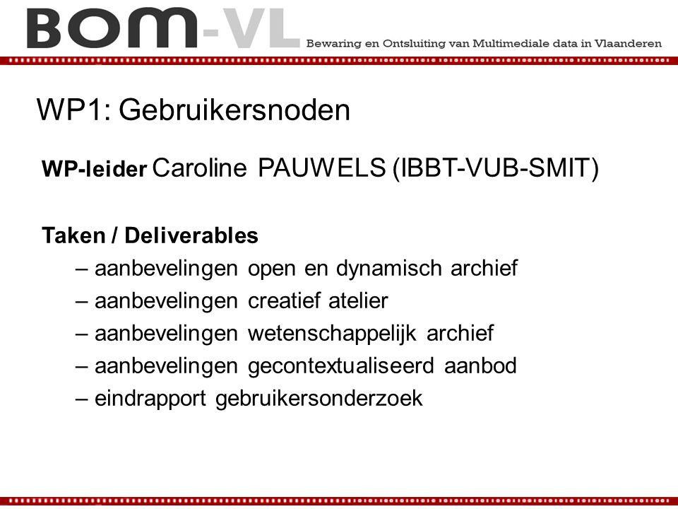 WP1: Gebruikersnoden WP-leider Caroline PAUWELS (IBBT-VUB-SMIT)