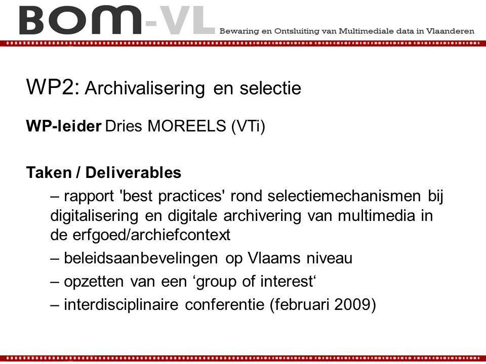 WP2: Archivalisering en selectie