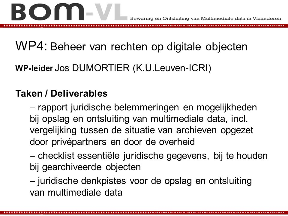 WP4: Beheer van rechten op digitale objecten