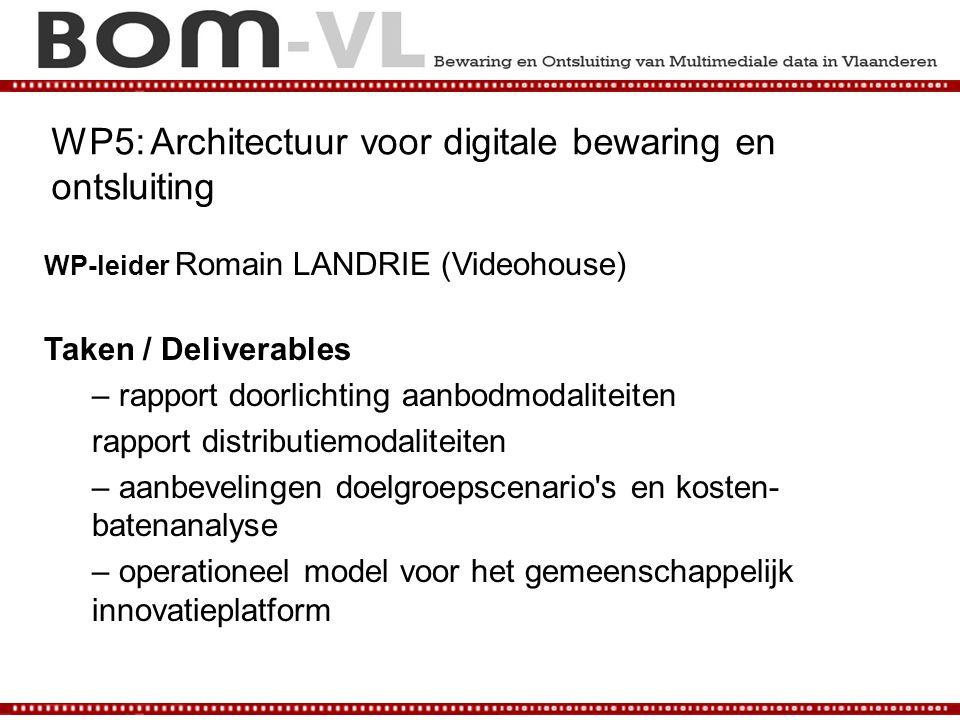 WP5: Architectuur voor digitale bewaring en ontsluiting