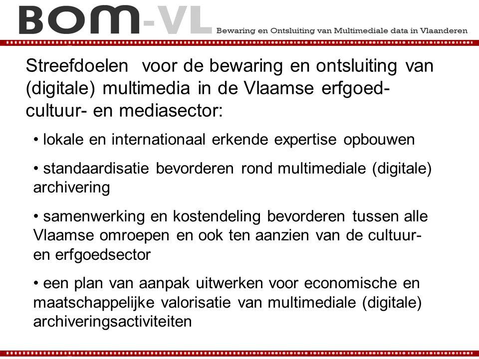 Streefdoelen voor de bewaring en ontsluiting van (digitale) multimedia in de Vlaamse erfgoed- cultuur- en mediasector: