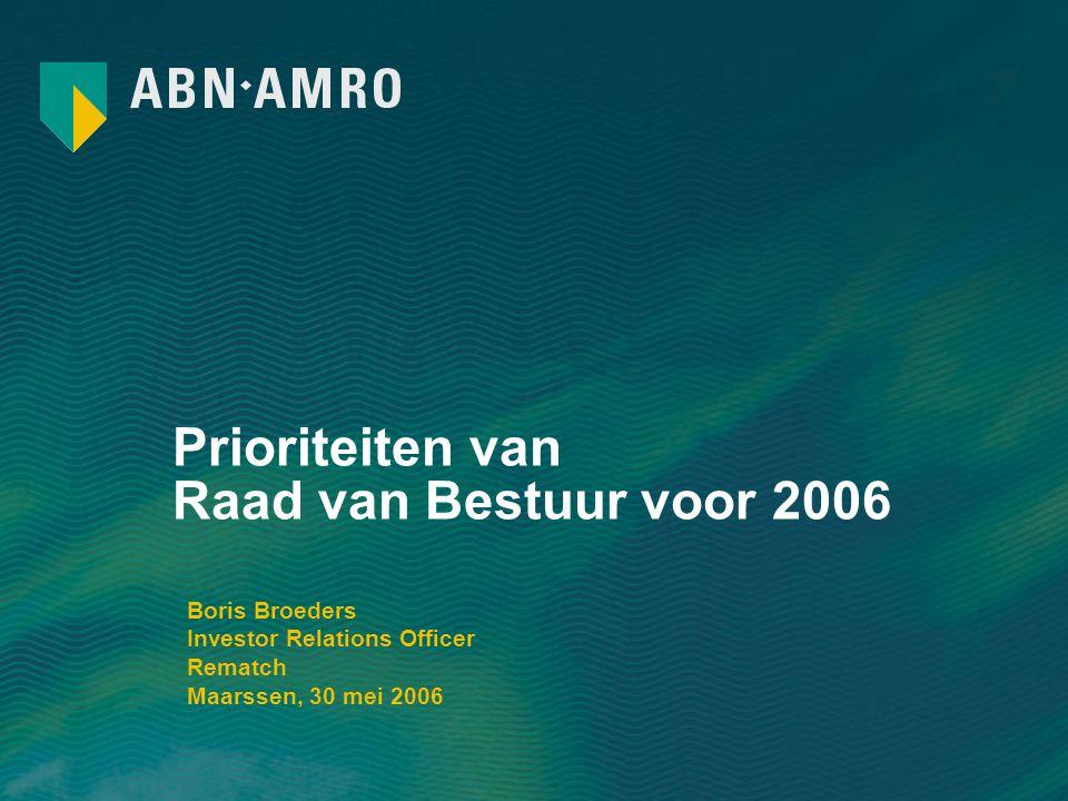 Prioriteiten van Raad van Bestuur voor 2006