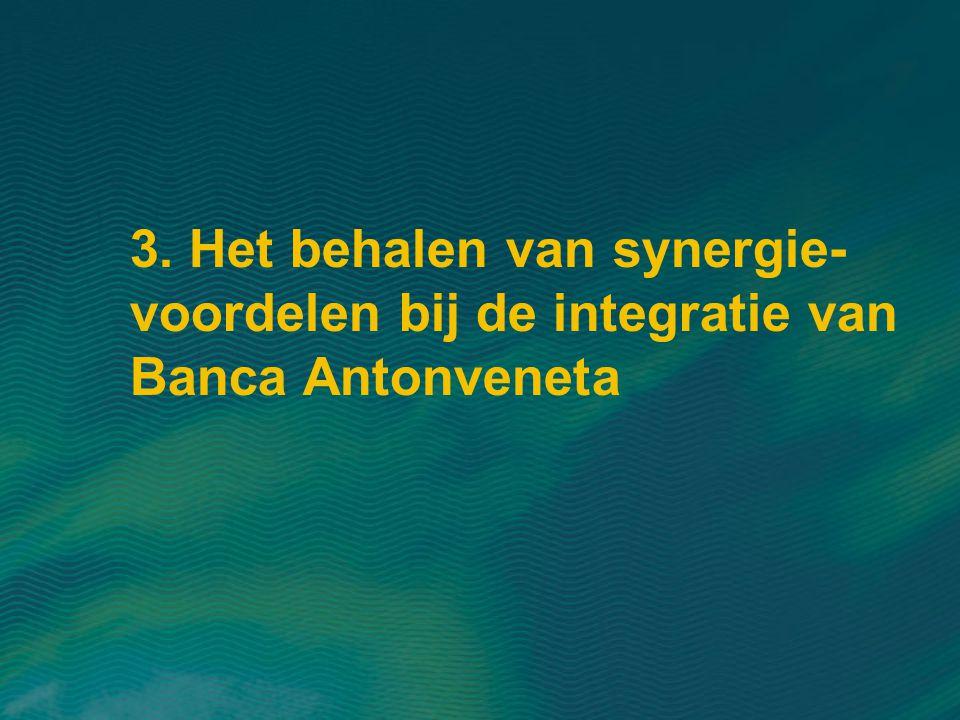 3. Het behalen van synergie-voordelen bij de integratie van Banca Antonveneta